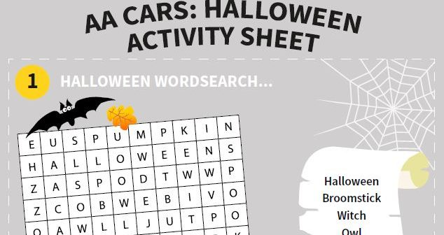 Halloween family activity sheet for car journeys