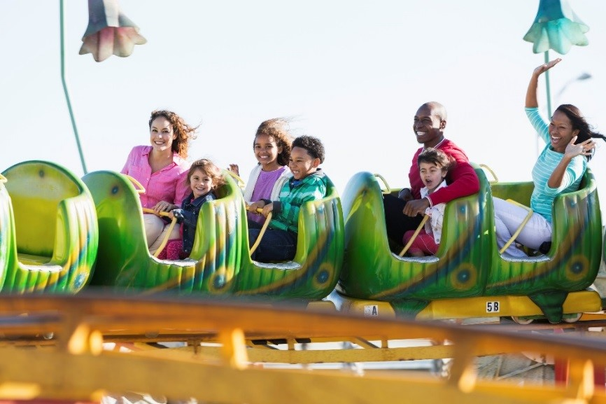 Family on rollercoaster