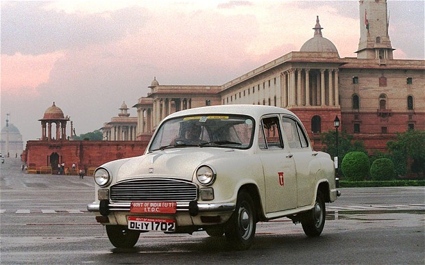 India Ambassador Car In Front of Temple