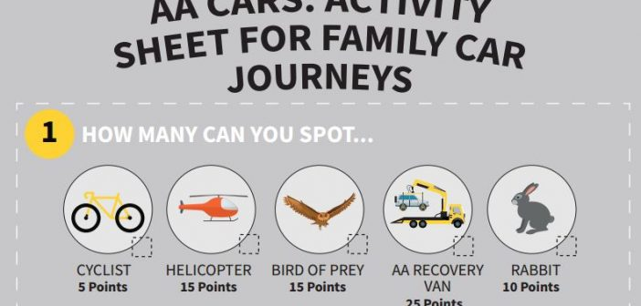 Family activity sheet for car journeys