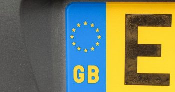 Detail of a British vehicle registration plate
