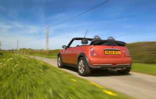 picture of mini convertible from the rear
