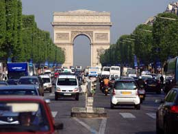 Traffic on the Champs Elysees, Paris