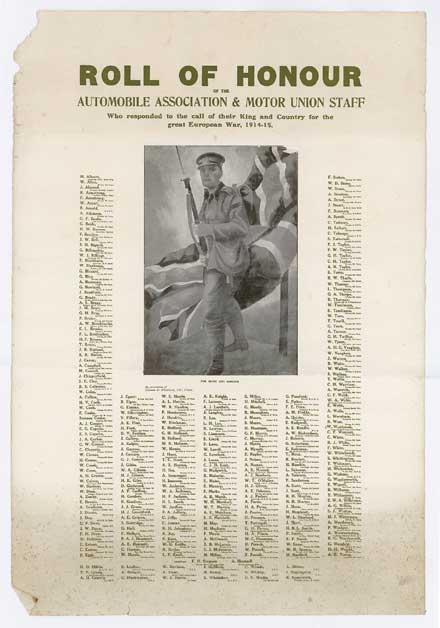 A Roll of Honour was produced by the AA in 1915