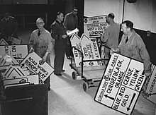 Preparing signs for the Coronation ((1953)