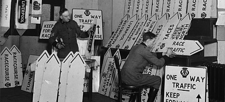Preparing signs for racing at Aintree