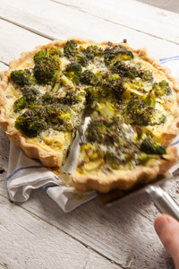 Broccoli, mustard and dill tart