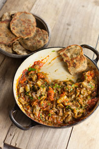 Zaalouk (Moroccan aubergine and tomato dip) with yogurt and herb flatbreads