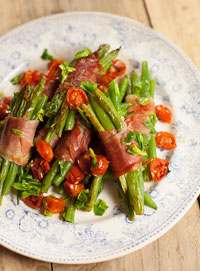 Bean and ham bundles with roasted tomatoes and tarragon