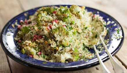 Roasted romanesco tabbouleh with almonds and pistachios