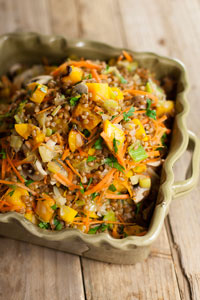 Wheatberry salad with roasted squash