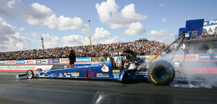 Burning rubber at Santa Pod