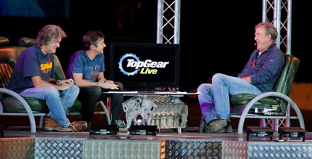James, Richard and Jeremy presenting Top Gear Live