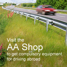 Visit the AA Shop to get compulsory equipment for driving abroad