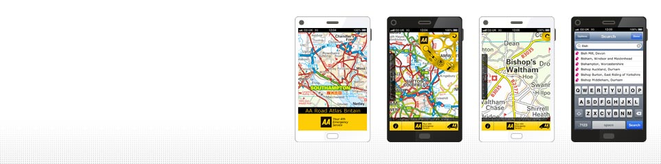AA Road Atlas app screenshots