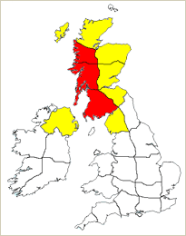 Risk of rainfall across Scotland and Northern Ireland