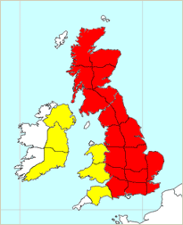 Risk of snow across Scotland, Wales, the Midlands and central-southern England