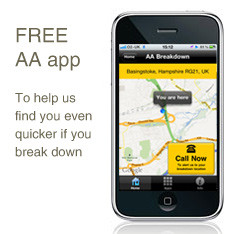 Free AA app helps us find you even quicker when you've had a breakdown.