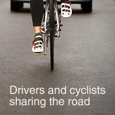 Drivers and cyclists sharing the road