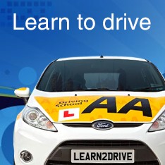 Learn to drive - front view of AA driving school car