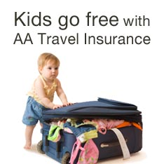 Kids go free with AA Travel Insurance