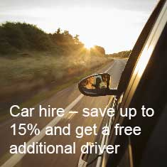 Save up to 15% on car hire and get a free additional driver