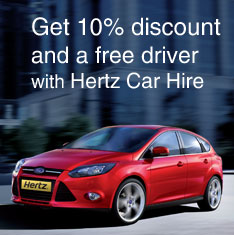 Get 10% discount and a free driver with Hertz Car Hire