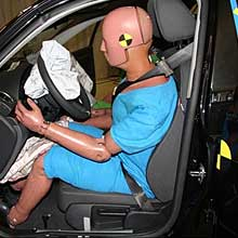 A Hybrid-III crash test dummy after a Euro NCAP crash test
