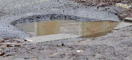 At low speed, hitting a deep pothole can cause damage to tyres, wheels and steering alignment