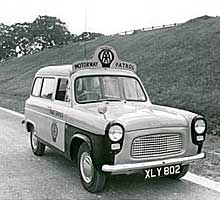 AA patrol van on the Preston bypass 1958