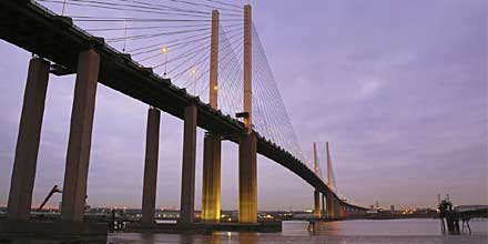 The Queen Elizabeth II Bridge opened in 1991 and carries southbound traffic over the Thames between Thurrock and Dartford