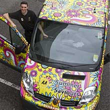 One of five 'flower power' AA vans