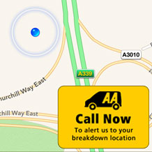 'The AA' in your pocket gives you quick and easy access to the AA Breakdown service