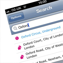 London Map search functionality
