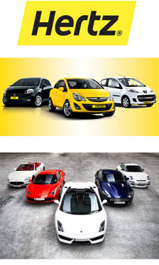 Selection of Hertz rental cars