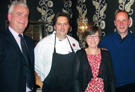 AA inspector Alistair Sandall with members Jane and Ben, and executive chef William Drabble