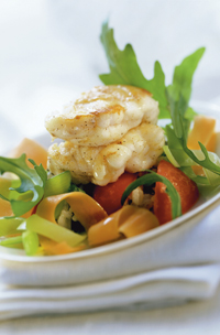 Wild monkfish with vegetable salad