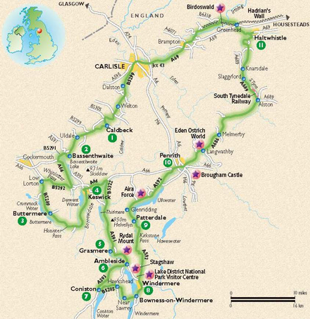 The heart of Lakeland tour route