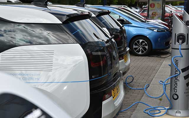 Charging an electric vehicle at the electric vehicle experience centre in milton keynes