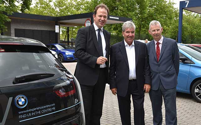 (l-r) Roads Minister Jessie Norman MP, David Martell, Chargemaster CEO, and AA president Edmund King at the launch of Drive Electric