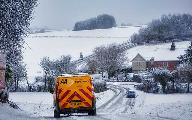 Aa fuel assist van in snow