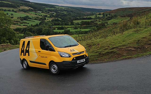 An AA breakdown van on a hill in Yorkshire