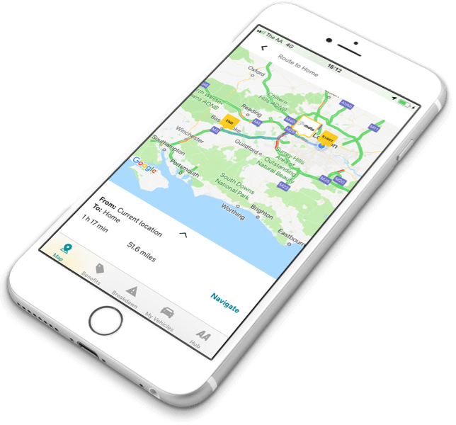 Route planner on the AA app