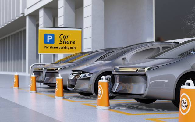 futuristic car share parking