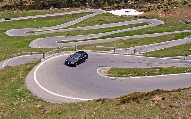 Mountain pass hairpins