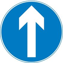 Ahead only - an example of a blue circle road sign