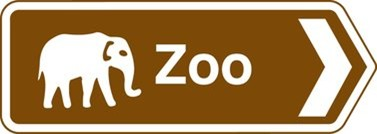brown tourist zoo sign