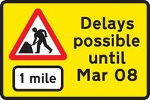 yellow roadworks sign