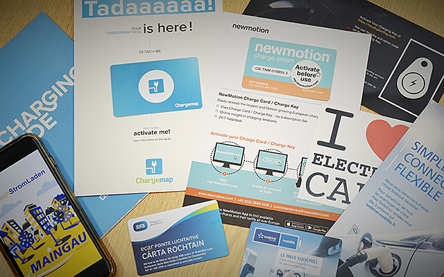 Leaflets cards and rfid tags from a selection of European EV charging network operators
