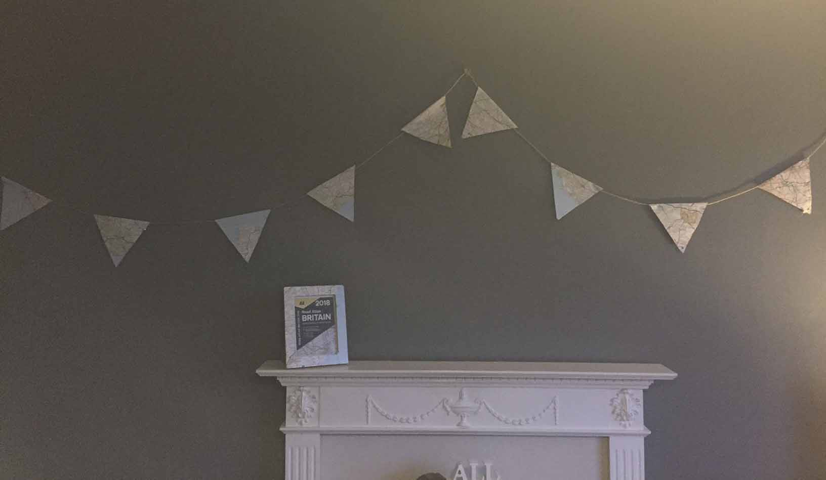 Bunting made from an atlas